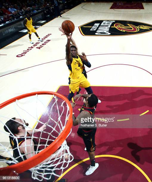 Victor Oladipo of the Indiana Pacers shoots the ball against the Cleveland Cavaliers in Game Five of Round One of the 2018 NBA Playoffs on April 25...