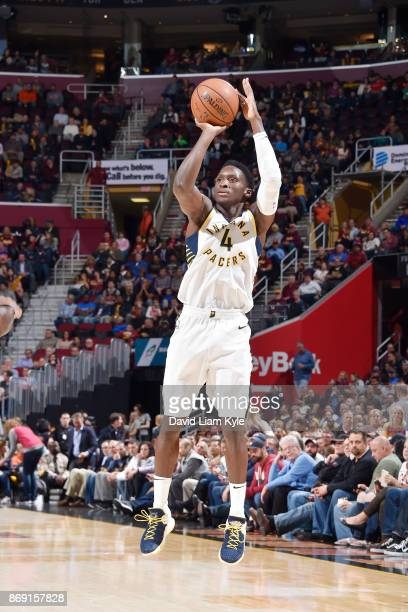 Victor Oladipo of the Indiana Pacers shoots the ball against the Cleveland Cavaliers on November 1 2017 at Quicken Loans Arena in Cleveland Ohio NOTE...