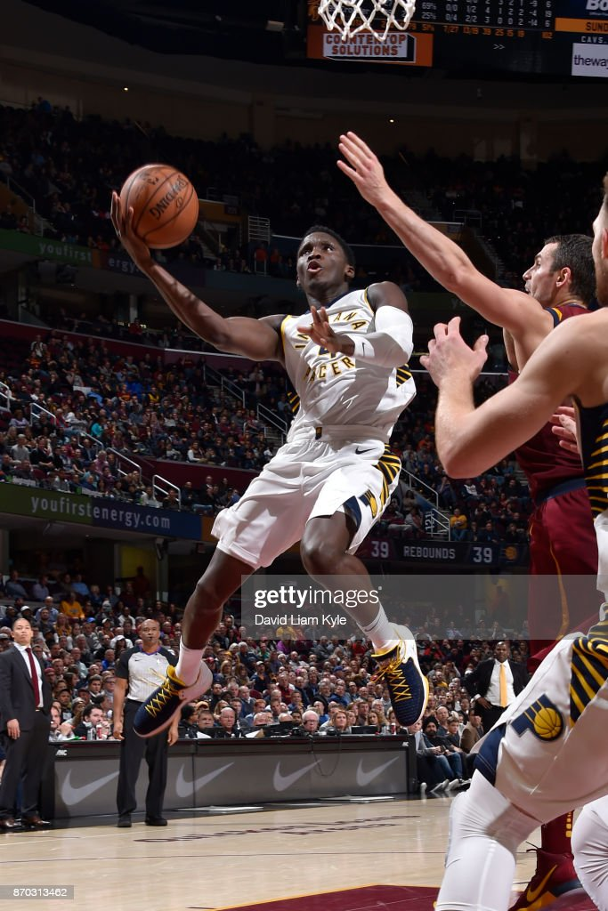 Victor Oladipo #4 of the Indiana Pacers shoots the ball during the game against the Cleveland Cavaliers on November 1, 2017 at Quicken Loans Arena in Cleveland, Ohio.