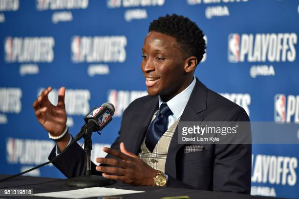Victor Oladipo of the Indiana Pacers speaks with the media during a press conference after the game against the Cleveland Cavaliers in Game Five of...