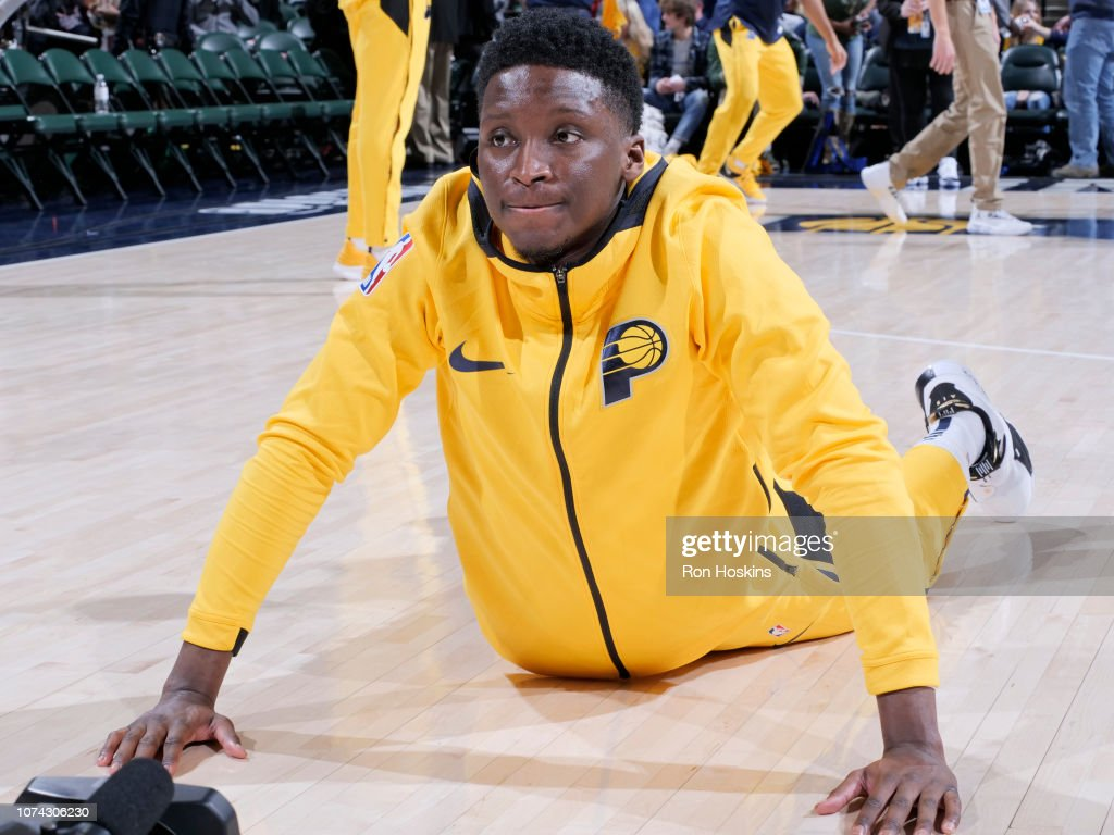 Victor Oladipo of the Indiana Pacers stretches prior to a