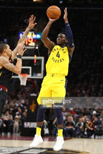 Victor Oladipo of the Indiana Pacers takes a shot while playing the Cleveland Cavaliers in Game One of the Eastern Conference Quarterfinals during...