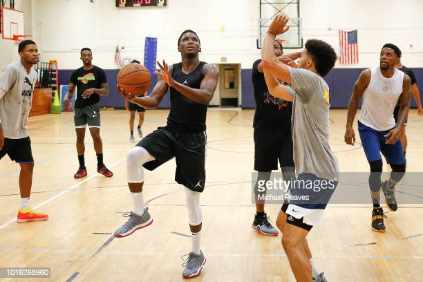 Victor Oladipo of the Indiana Pacers takes part in NBA Offseason training with Remy Workouts on August 9 2018 in Miami Florida
