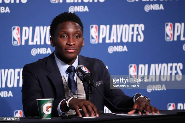 Victor Oladipo of the Indiana Pacers talks to the media after the game against the Cleveland Cavaliers in Game Five of Round One of the 2018 NBA...