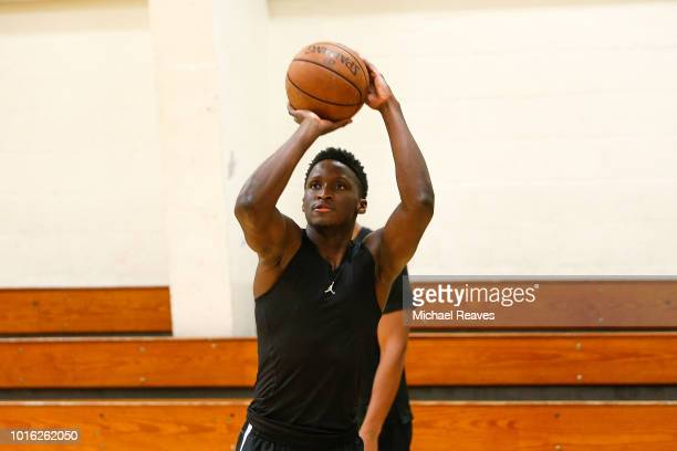 Victor Oladipo of the Indiana Pacers warms up during NBA Offseason training with Remy Workouts on August 8 2018 in Miami Florida