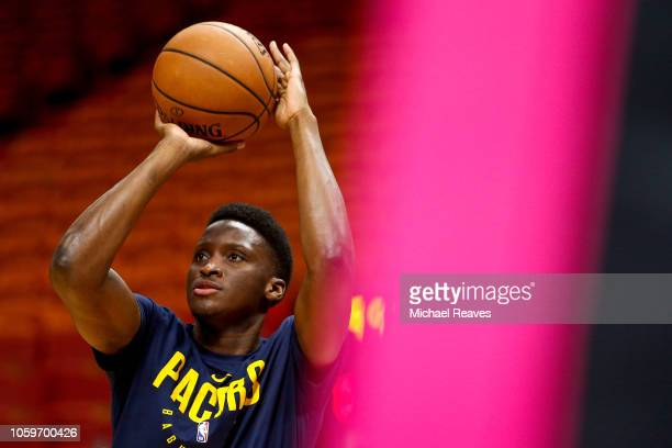 Victor Oladipo of the Indiana Pacers warms up prior to the game between the Miami Heat and the Indiana Pacers at American Airlines Arena on November...