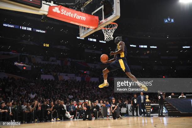 Victor Oladipo of the Indiana Pacers wearing a mask from Marvel's Black Panther competes in the 2018 Verizon Slam Dunk Contest at Staples Center on...