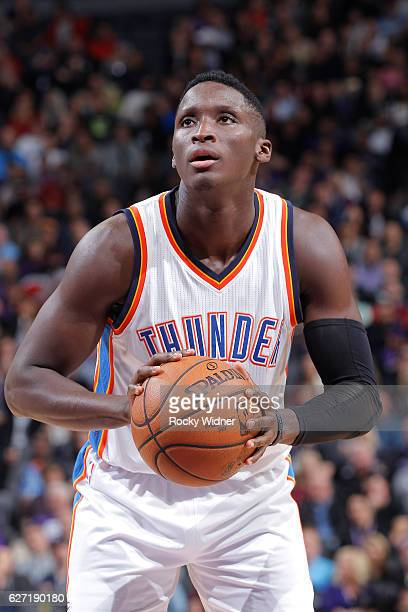 Victor Oladipo of the Oklahoma City Thunder attempts a free throw shot against the Sacramento Kings on November 23 2016 at Golden 1 Center in...