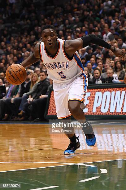 Victor Oladipo of the Oklahoma City Thunder drives to the basket during a game against the Milwaukee Bucks at the BMO Harris Bradley Center on...