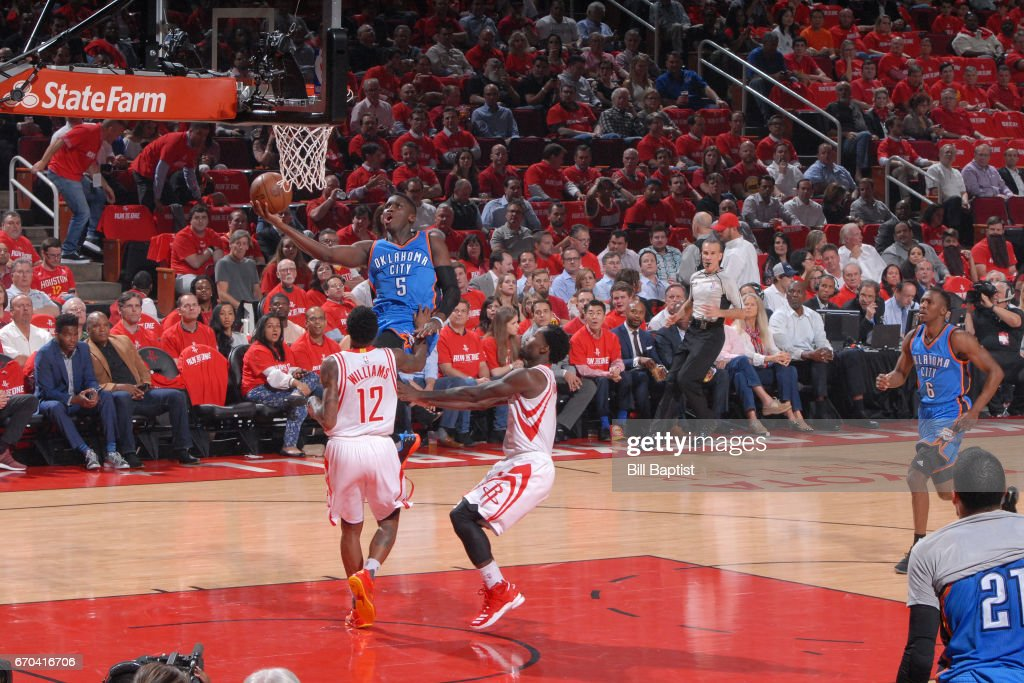 Victor Oladipo #5 of the Oklahoma City Thunder goes up for a lay up against the Houston Rockets during Game Two of the Western Conference Quarterfinals of the 2017 NBA Playoffs on April 19, 2017 at the Toyota Center in Houston, Texas.