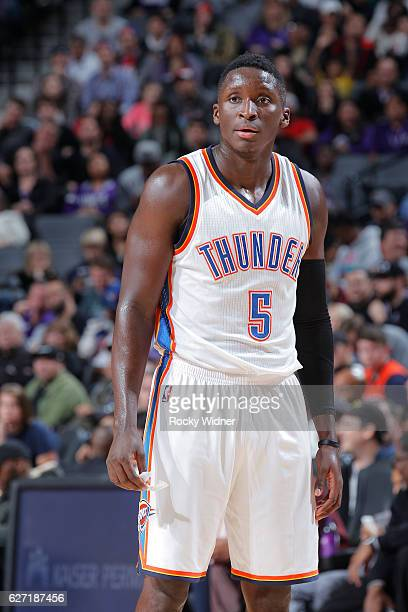 Victor Oladipo of the Oklahoma City Thunder looks on during the game against the Sacramento Kings on November 23 2016 at Golden 1 Center in...