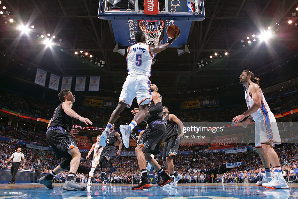 Victor Oladipo #5 of the Oklahoma City Thunder shoots a lay up against the Phoenix Suns on October 28, 2016 at the Chesapeake Energy Arena in Oklahoma City, Oklahoma.