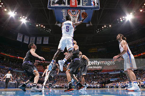 Victor Oladipo of the Oklahoma City Thunder shoots a lay up against the Phoenix Suns on October 28 2016 at the Chesapeake Energy Arena in Oklahoma...