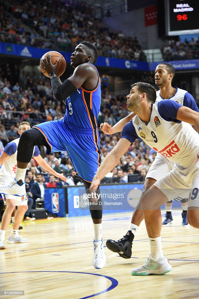 Victor Oladipo of the Oklahoma City Thunder shoots against Real Madrid as part of the 2016 Global Games on October 3, 2016 at the Barclaycard Center in Madrid, Spain.
