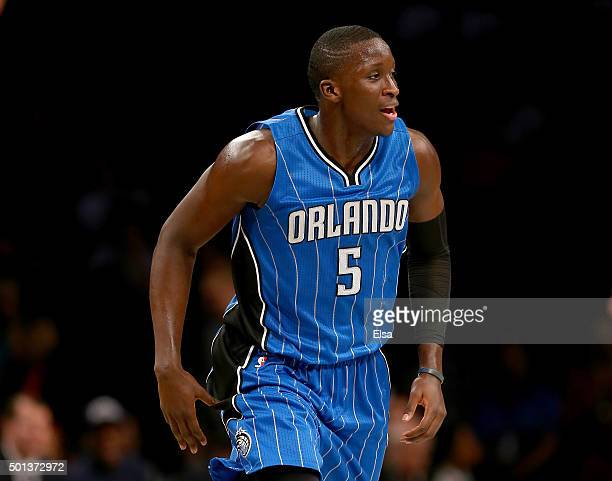 Victor Oladipo of the Orlando Magic celebrates in the second half after a three point shot against the Brooklyn Nets at Barclays Center on December...
