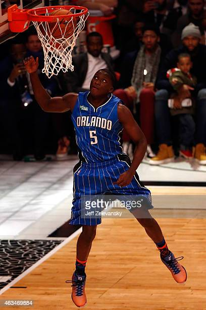 Victor Oladipo of the Orlando Magic competes during the Sprite Slam Dunk Contest as part of the 2015 NBA Allstar Weekend at Barclays Center on...