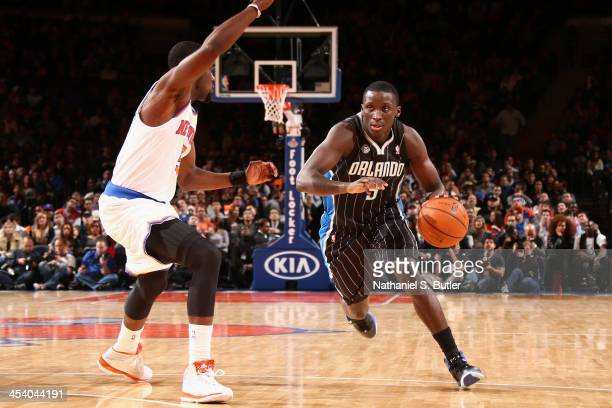 Victor Oladipo of the Orlando Magic drives during a game against the New York Knicks at Madison Square Garden in New York City on December 6 2013...