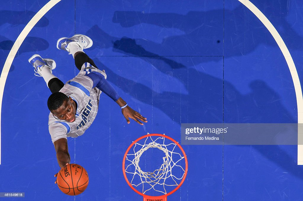Victor Oladipo #5 of the Orlando Magic goes up for a shot against the Houston Rockets during the game on January 14, 2015 at Amway Center in Orlando, Florida.
