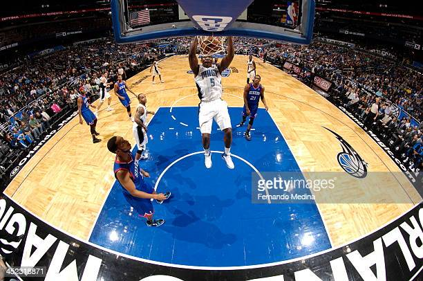 Victor Oladipo of the Orlando Magic goes up for the dunk against the Philadelphia 76ers during the game on November 27 2013 at Amway Center in...