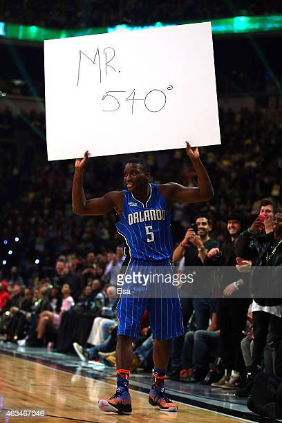 Victor Oladipo of the Orlando Magic holds up a sign that reads Mr 540 during the Sprite Slam Dunk Contest as part of the 2015 NBA Allstar Weekend at...