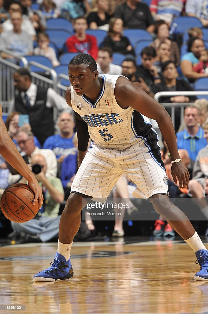 Victor Oladipo #5 of the Orlando Magic plays tight defense against the Brooklyn Nets during the game on April 9, 2014 at Amway Center in Orlando, Florida.