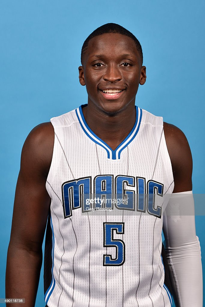 Victor Oladipo #5 of the Orlando Magic poses for a headshot during NBA Media Day on September 25, 2015 at Amway Center in Orlando, Florida.