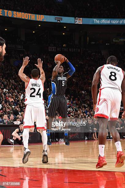Victor Oladipo of the Orlando Magic shoots the ball against the Toronto Raptors on March 20 2016 at the Air Canada Centre in Toronto Ontario Canada...