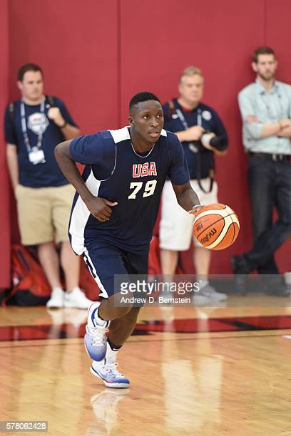 Victor Oladipo of the USA Men's Select Team dribbles the ball during practice on July 19 2016 at Mendenhall Center on the University of Nevada Las...