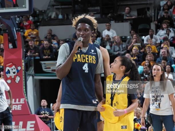 Victor Olapido of the Indiana Pacers talks to fans during Fan Jam on October 13 2019 in Indianapolis Indiana NOTE TO USER User expressly acknowledges...