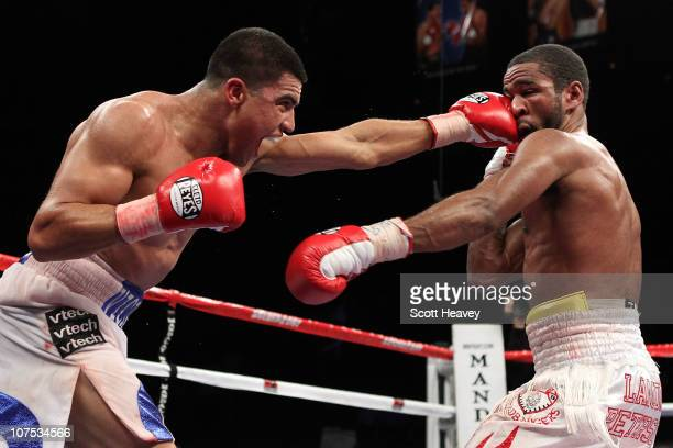 Victor Ortiz connects with a left to the face of Lamont Petersen during the super lightweight fight at Mandalay Bay Events Center on December 11 2010...