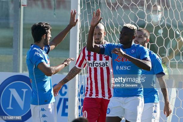 Victor Osimhane of SSC Napoli celebrate after scoring a goal during SSC Napoli v Teramo - Pre-Season Friendly match 04, 2020 in Castel di Sangro,...