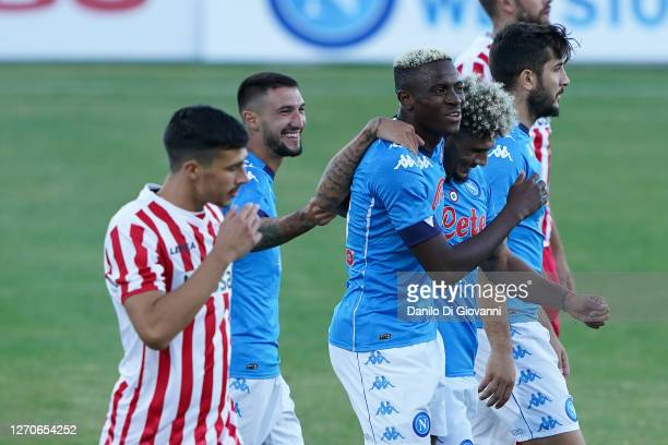 Victor Osimhane of SSC Napoli celebrates after scoring a goal during SSC Napoli v Teramo - Pre-Season Friendly match 04, 2020 in Castel di Sangro,...