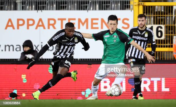 Victor Osimhen of Charleroi and Naomichi Ueda of Cercle fight for the ball during the Jupiler Pro League match between Royal Charleroi SC and Cercle...