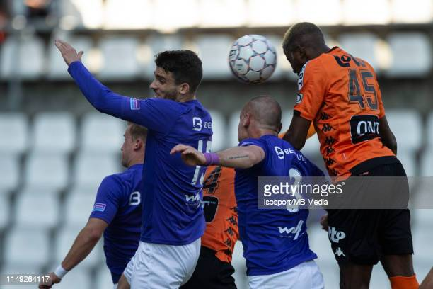 Victor Osimhen of Charleroi scores a goal during the Jupiler Pro League playoff 2 group A match between Beerschot Wilrijk and Sporting Charleroi on...