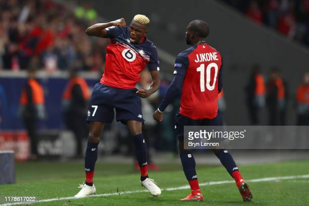 Victor Osimhen of Lille celebrates after he scores his sides first goal during the UEFA Champions League group H match between Lille OSC and Chelsea...