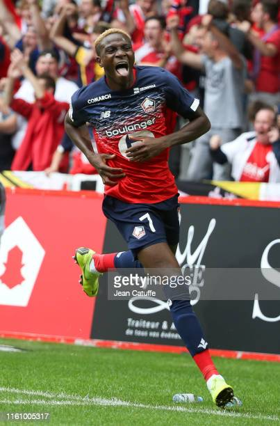 Victor Osimhen of Lille celebrates his goal during the French Ligue 1 match between Lille OSC and FC Nantes at Stade Pierre Mauroy on August 11, 2019...