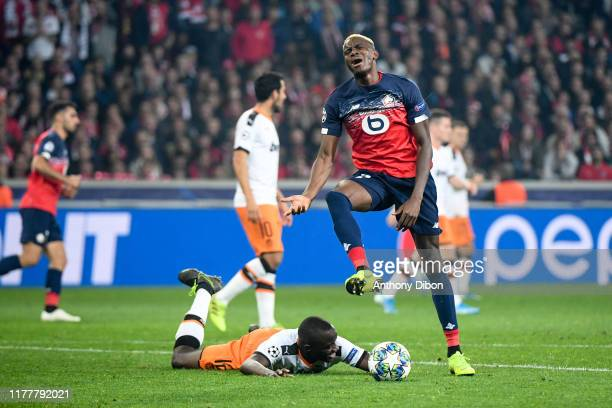 Victor OSIMHEN of Lille looks dejected during the UEFA Champions League Group H match between Lille and Valencia on October 23 2019 in Lille France