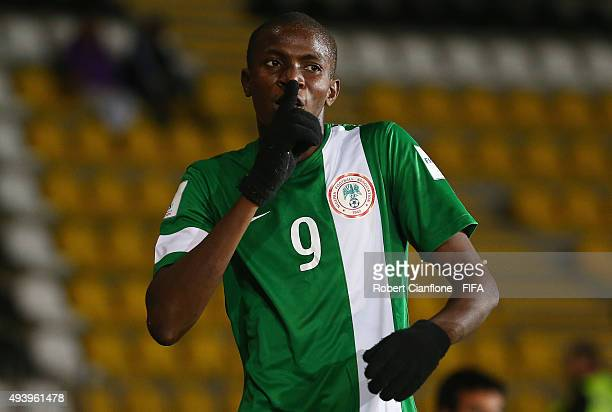 Victor Osimhen of Nigeria celebrates after scoring a goal during the FIFA U17 World Cup Group A match between Croatia and Nigeria at Estadio...