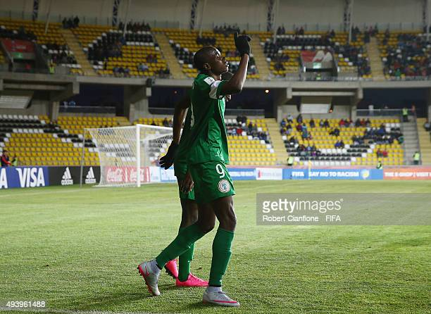 Victor Osimhen of Nigeria celebrates after scoring a goal during the FIFA U-17 World Cup Group A match between Croatia and Nigeria at Estadio...