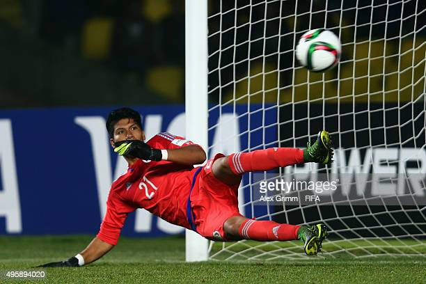 Victor Osimhen of Nigeria scores his team's third goal with a penalty against goalkeeper Abraham Romero of Mexico during the FIFA U17 World Cup Chile...
