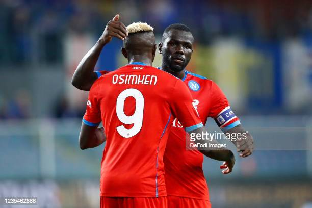 Victor Osimhen of SSC Napoli and Kalidou Koulibaly of SSC Napoli hug each other during the Serie A match between UC Sampdoria and SSC Napoli at...
