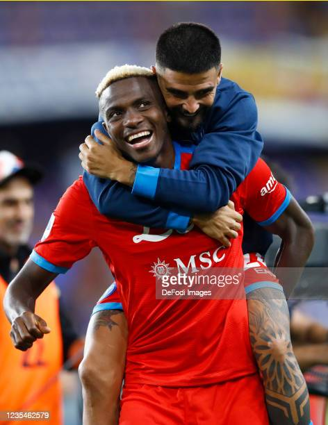 Victor Osimhen of SSC Napoli and Lorenzo Insigne of SSC Napoli celebrate after winning the Serie A match between UC Sampdoria and SSC Napoli at...
