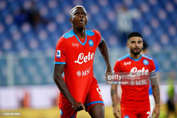 Victor Osimhen of SSC Napoli celebrates after scoring his team's third goal during the Serie A match between UC Sampdoria and SSC Napoli at Stadio...