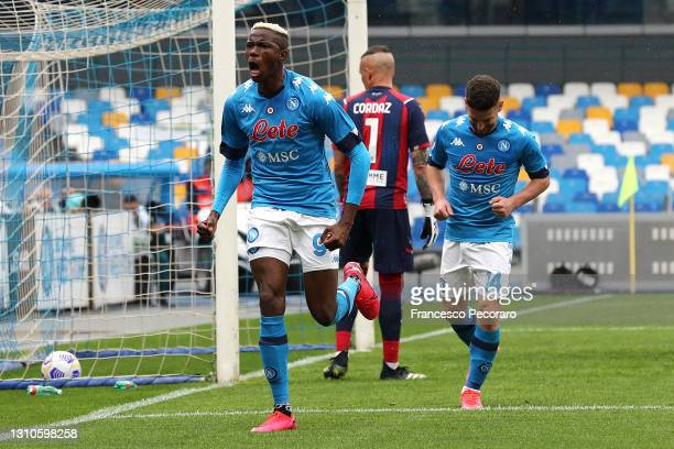Victor Osimhen of SSC Napoli celebrates after scoring their side's second goal during the Serie A match between SSC Napoli and FC Crotone at Stadio...