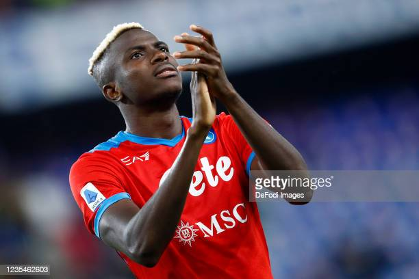 Victor Osimhen of SSC Napoli celebrates after winning the Serie A match between UC Sampdoria and SSC Napoli at Stadio Luigi Ferraris on September 23,...
