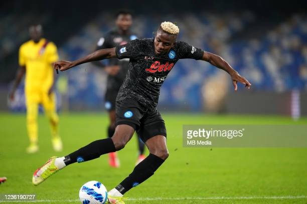 Victor Osimhen of SSC Napoli in action ,during the Serie A match between SSC Napoli and Bologna FC at Stadio Diego Armando Maradona on October 28,...