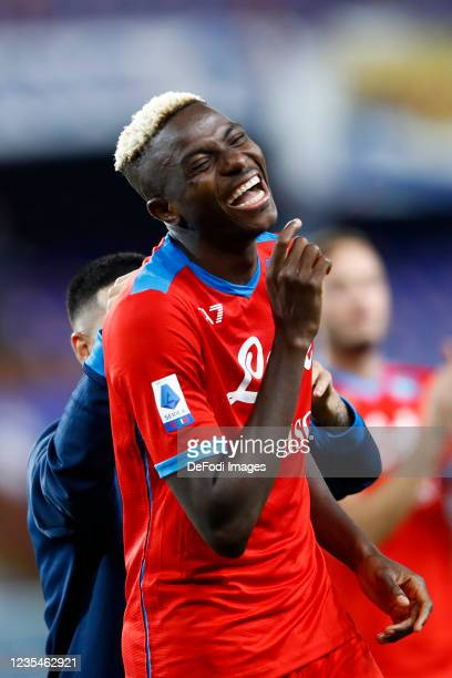 Victor Osimhen of SSC Napoli laughs during the Serie A match between UC Sampdoria and SSC Napoli at Stadio Luigi Ferraris on September 23, 2021 in...