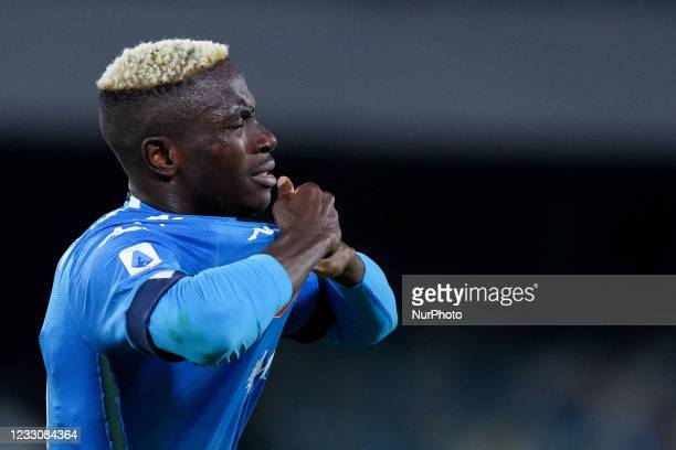 Victor Osimhen of SSC Napoli looks dejected after missing the UEFA Champions League qualification during the Serie A match between SSC Napoli and...