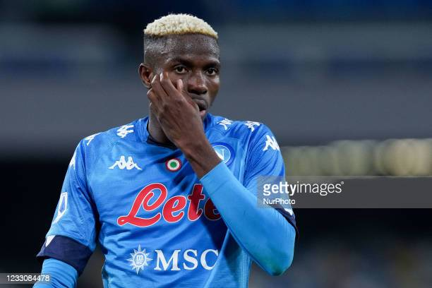 Victor Osimhen of SSC Napoli looks dejected during the Serie A match between SSC Napoli and Hellas Verona at Stadio Diego Armando Maradona, Naples,...