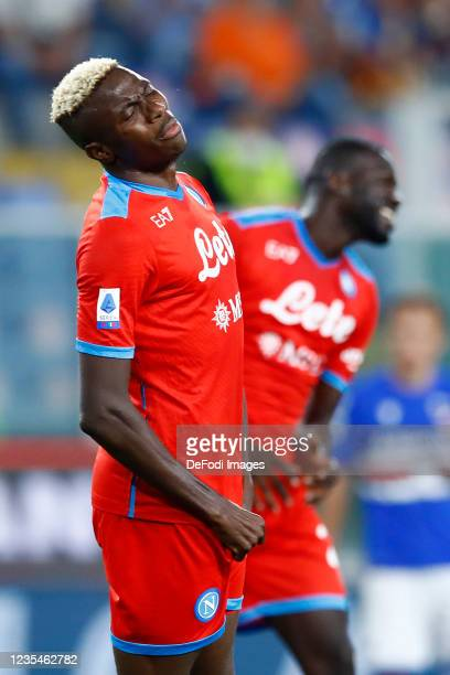 Victor Osimhen of SSC Napoli looks dejected during the Serie A match between UC Sampdoria and SSC Napoli at Stadio Luigi Ferraris on September 23,...
